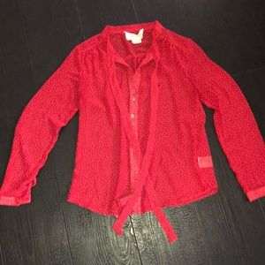 Anthropologie coincidence & chance Red Blouse XS